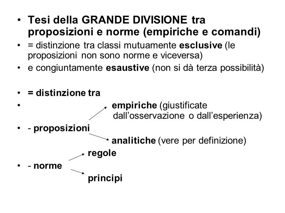 Tesi della GRANDE DIVISIONE tra proposizioni e norme (empiriche e comandi) = distinzione tra classi mutuamente esclusive (le proposizioni non sono nor