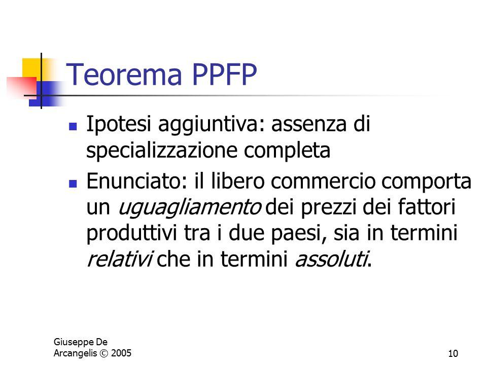Giuseppe De Arcangelis © 200510 Teorema PPFP Ipotesi aggiuntiva: assenza di specializzazione completa Enunciato: il libero commercio comporta un uguag
