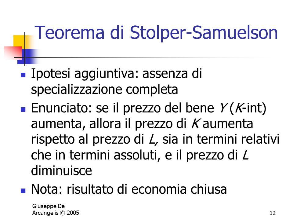 Giuseppe De Arcangelis © 200512 Teorema di Stolper-Samuelson Ipotesi aggiuntiva: assenza di specializzazione completa Enunciato: se il prezzo del bene