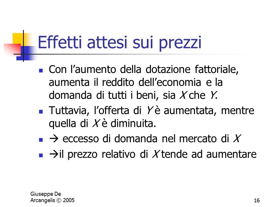Giuseppe De Arcangelis © 200516 Effetti attesi sui prezzi Con l'aumento della dotazione fattoriale, aumenta il reddito dell'economia e la domanda di t