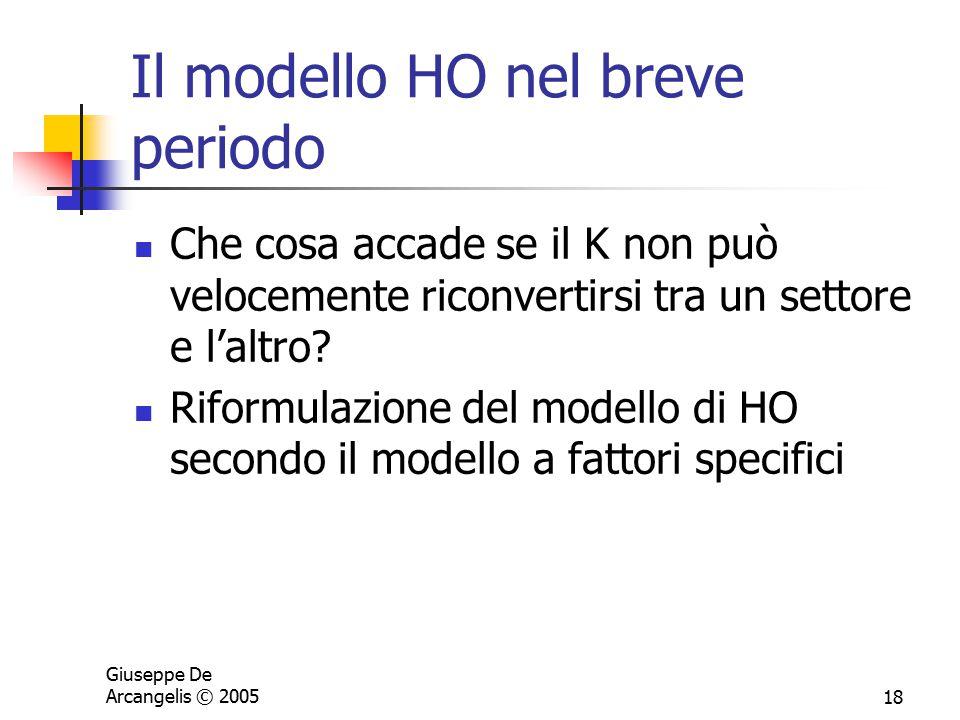 Giuseppe De Arcangelis © 200518 Il modello HO nel breve periodo Che cosa accade se il K non può velocemente riconvertirsi tra un settore e l'altro? Ri