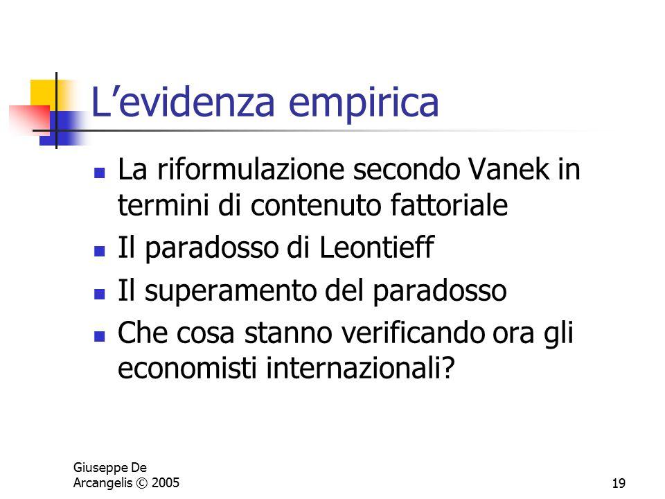Giuseppe De Arcangelis © 200519 L'evidenza empirica La riformulazione secondo Vanek in termini di contenuto fattoriale Il paradosso di Leontieff Il su