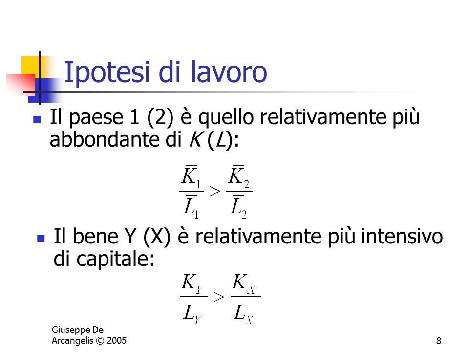 Giuseppe De Arcangelis © 20058 Ipotesi di lavoro Il paese 1 (2) è quello relativamente più abbondante di K (L): Il bene Y (X) è relativamente più inte