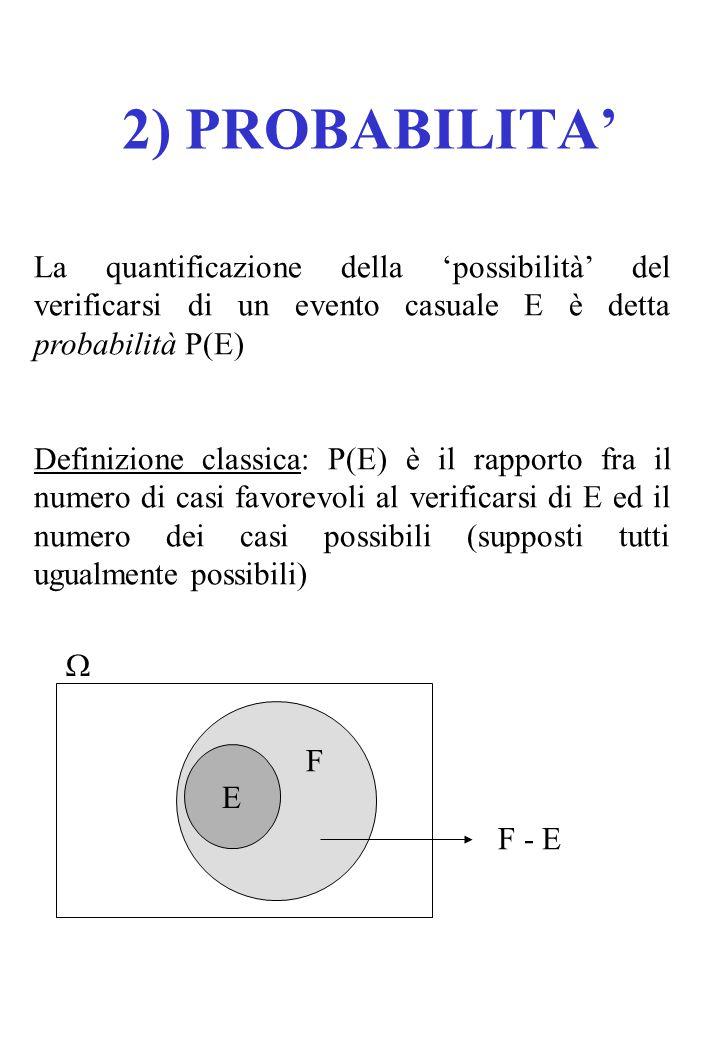 La quantificazione della 'possibilità' del verificarsi di un evento casuale E è detta probabilità P(E) Definizione classica: P(E) è il rapporto fra il