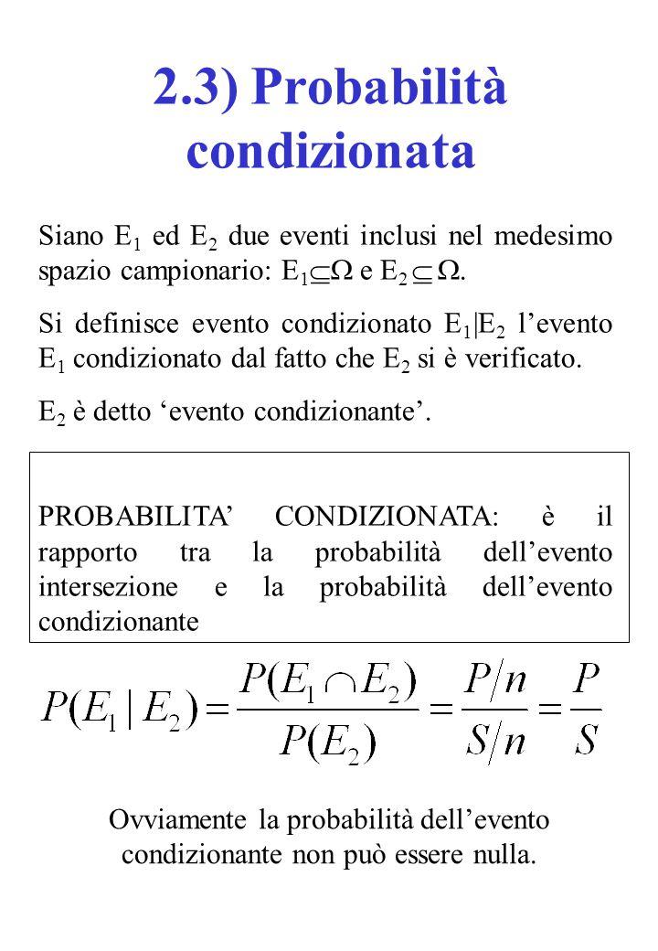 Siano E 1 ed E 2 due eventi inclusi nel medesimo spazio campionario: E 1  e E 2   Si definisce evento condizionato E 1  E 2 l'evento E 1 condizio