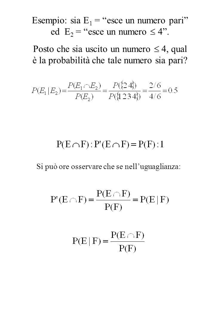 """Esempio: sia E 1 = """"esce un numero pari"""" ed E 2 = """"esce un numero  4"""". Posto che sia uscito un numero  4, qual è la probabilità che tale numero sia"""