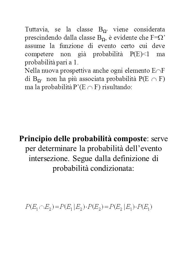 Tuttavia, se la classe   ' viene considerata prescindendo dalla classe  , è evidente che F=  ' assume la funzione di evento certo cui deve compet
