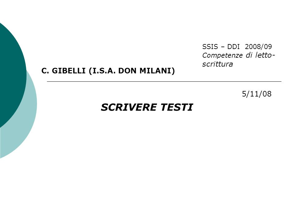 SCRIVERE TESTI C. GIBELLI (I.S.A.