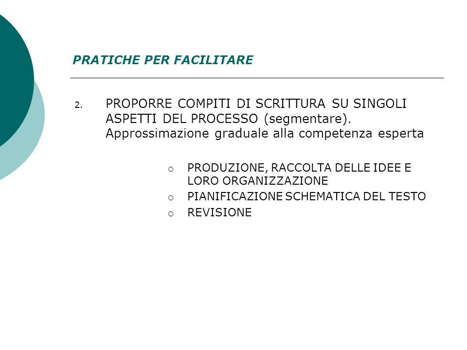 2. PROPORRE COMPITI DI SCRITTURA SU SINGOLI ASPETTI DEL PROCESSO (segmentare).