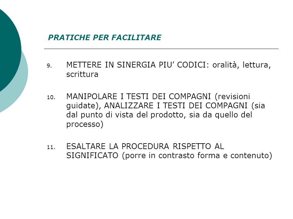9. METTERE IN SINERGIA PIU' CODICI: oralità, lettura, scrittura 10.