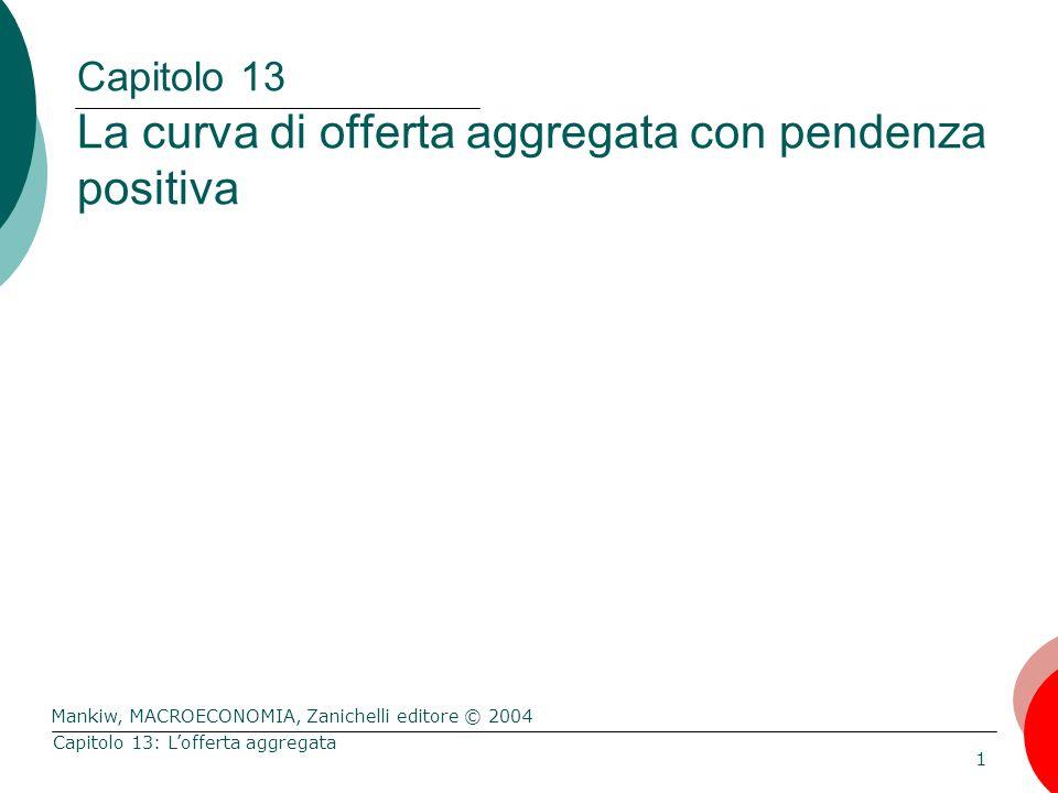 Mankiw, MACROECONOMIA, Zanichelli editore © 2004 1 Capitolo 13: L'offerta aggregata Capitolo 13 La curva di offerta aggregata con pendenza positiva