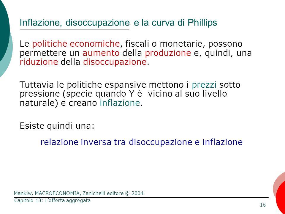 Mankiw, MACROECONOMIA, Zanichelli editore © 2004 16 Capitolo 13: L'offerta aggregata Inflazione, disoccupazione e la curva di Phillips Le politiche economiche, fiscali o monetarie, possono permettere un aumento della produzione e, quindi, una riduzione della disoccupazione.