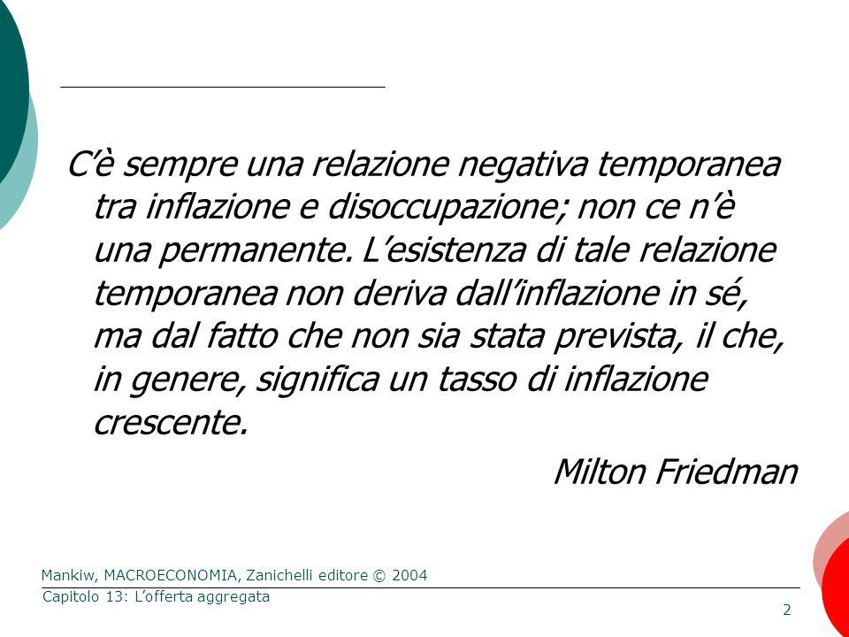 Mankiw, MACROECONOMIA, Zanichelli editore © 2004 2 Capitolo 13: L'offerta aggregata C'è sempre una relazione negativa temporanea tra inflazione e disoccupazione; non ce n'è una permanente.