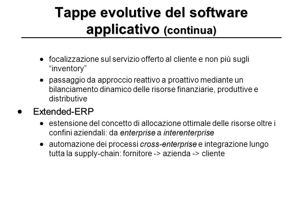Tappe evolutive del software applicativo (continua) 19601970198019902000...