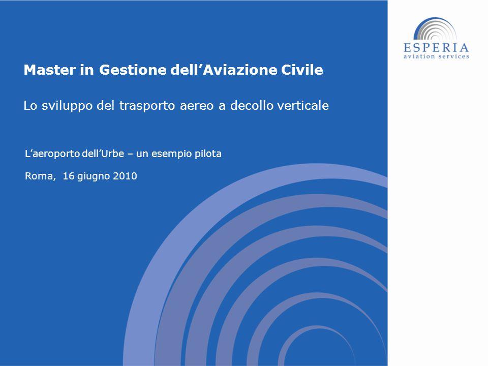 Master in Gestione dell'Aviazione Civile L'aeroporto dell'Urbe – un esempio pilota Roma, 16 giugno 2010 Lo sviluppo del trasporto aereo a decollo vert