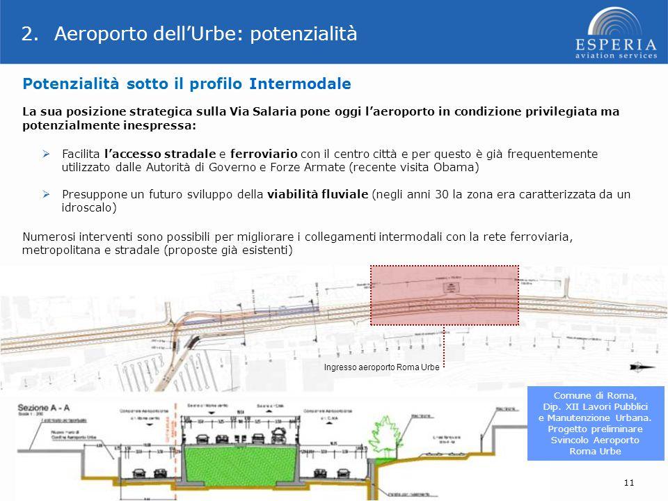 Ingresso aeroporto Roma Urbe Comune di Roma, Dip. XII Lavori Pubblici e Manutenzione Urbana. Progetto preliminare Svincolo Aeroporto Roma Urbe 11 La s