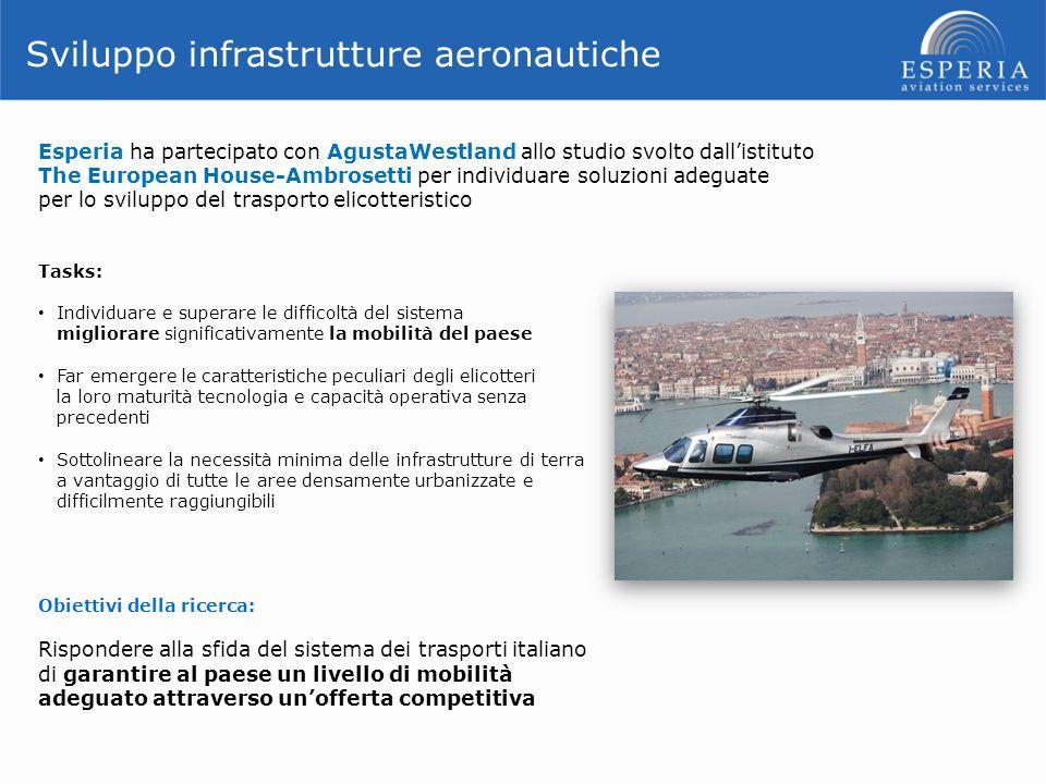 Sviluppo infrastrutture aeronautiche Esperia ha partecipato con AgustaWestland allo studio svolto dall'istituto The European House-Ambrosetti per indi