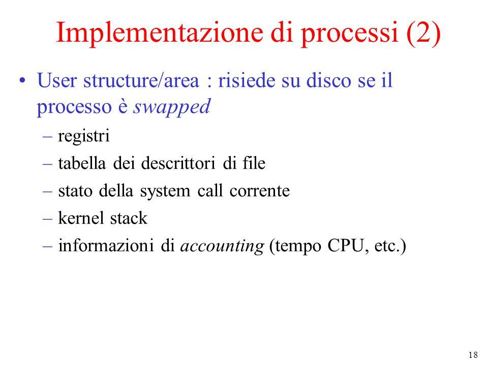 18 Implementazione di processi (2) User structure/area : risiede su disco se il processo è swapped –registri –tabella dei descrittori di file –stato della system call corrente –kernel stack –informazioni di accounting (tempo CPU, etc.)