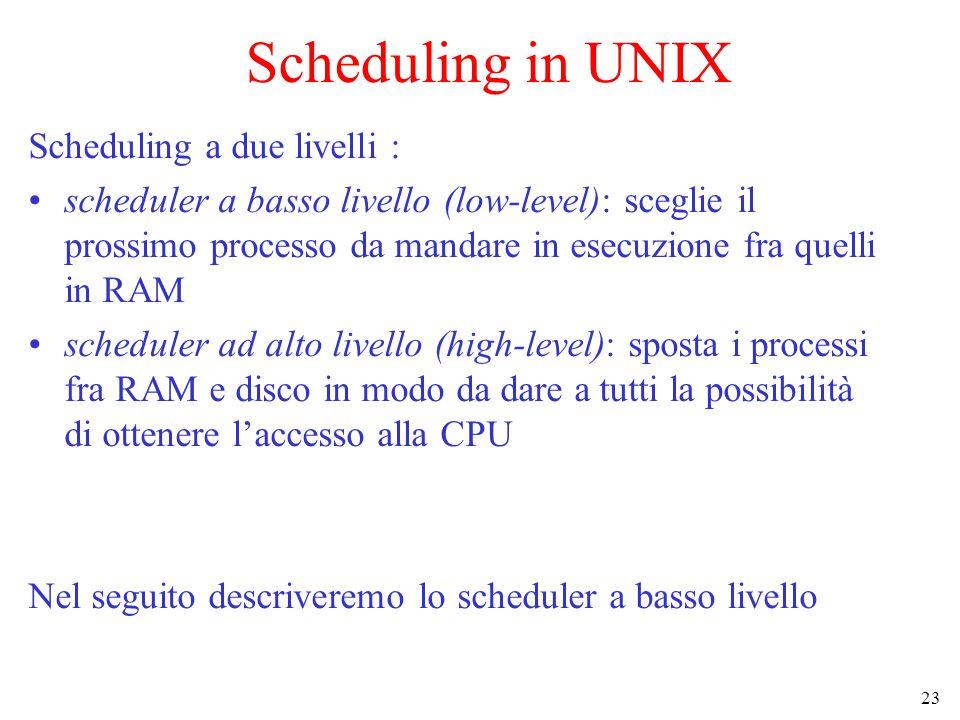 23 Scheduling in UNIX Scheduling a due livelli : scheduler a basso livello (low-level): sceglie il prossimo processo da mandare in esecuzione fra quelli in RAM scheduler ad alto livello (high-level): sposta i processi fra RAM e disco in modo da dare a tutti la possibilità di ottenere l'accesso alla CPU Nel seguito descriveremo lo scheduler a basso livello