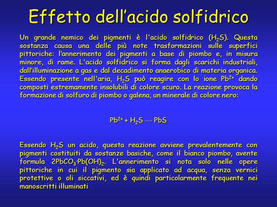 Effetto dell'acido solfidrico Un grande nemico dei pigmenti è l'acido solfidrico (H 2 S). Questa sostanza causa una delle più note trasformazioni sull
