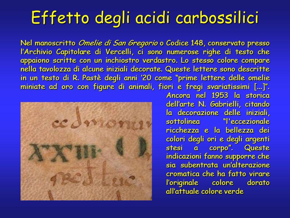 Effetto degli acidi carbossilici Nel manoscritto Omelie di San Gregorio o Codice 148, conservato presso l'Archivio Capitolare di Vercelli, ci sono numerose righe di testo che appaiono scritte con un inchiostro verdastro.