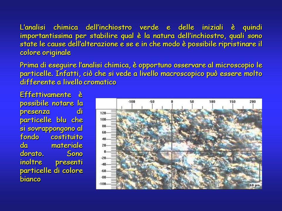 L'analisi chimica dell'inchiostro verde e delle iniziali è quindi importantissima per stabilire qual è la natura dell'inchiostro, quali sono state le
