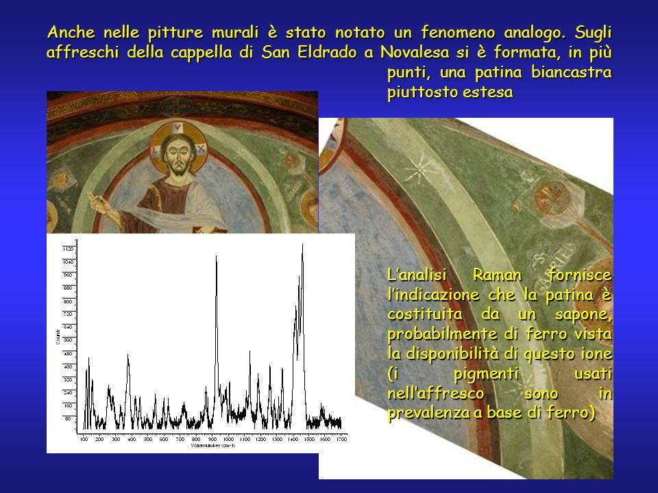 Anche nelle pitture murali è stato notato un fenomeno analogo. Sugli affreschi della cappella di San Eldrado a Novalesa si è formata, in più punti, un