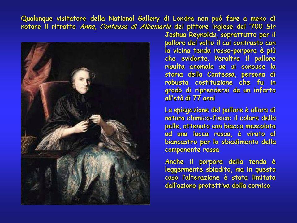 Qualunque visitatore della National Gallery di Londra non può fare a meno di notare il ritratto Anna, Contessa di Albemarle del pittore inglese del '700 Sir Joshua Reynolds, soprattutto per il pallore del volto il cui contrasto con la vicina tenda rosso-porpora è più che evidente.