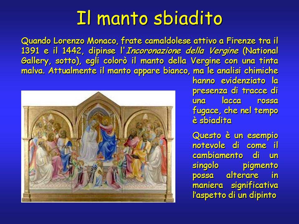 Quando Lorenzo Monaco, frate camaldolese attivo a Firenze tra il 1391 e il 1442, dipinse l Incoronazione della Vergine (National Gallery, sotto), egli colorò il manto della Vergine con una tinta malva.