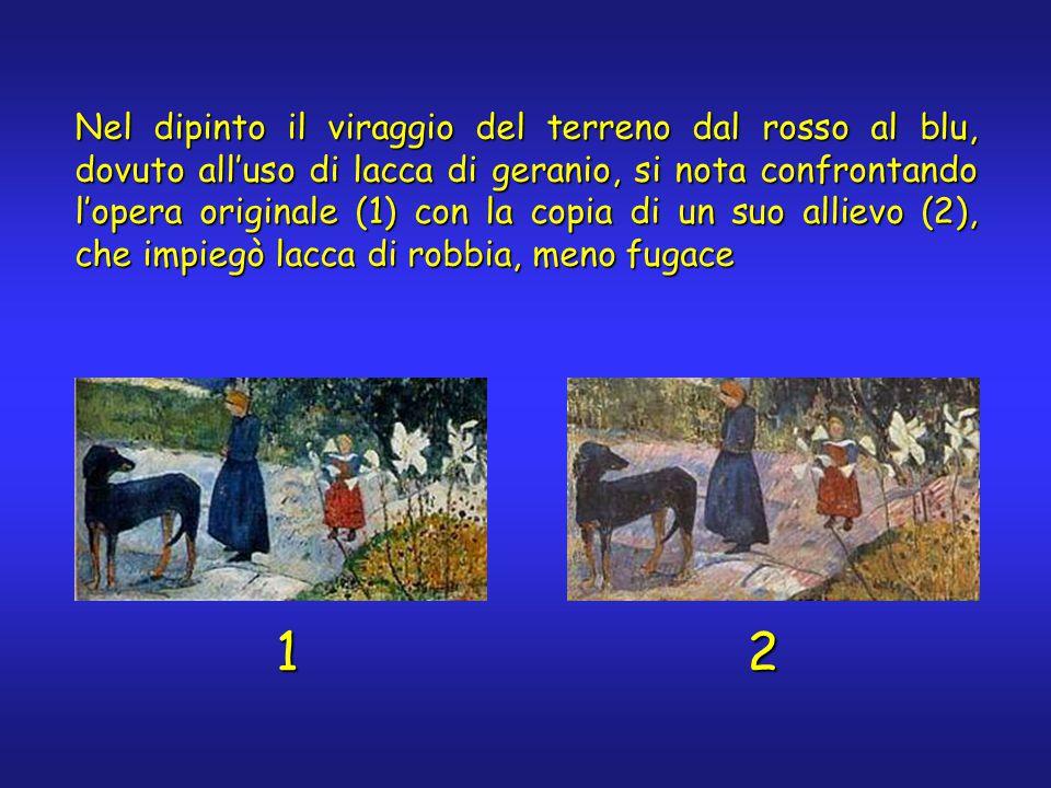 Nel dipinto il viraggio del terreno dal rosso al blu, dovuto all'uso di lacca di geranio, si nota confrontando l'opera originale (1) con la copia di un suo allievo (2), che impiegò lacca di robbia, meno fugace 12