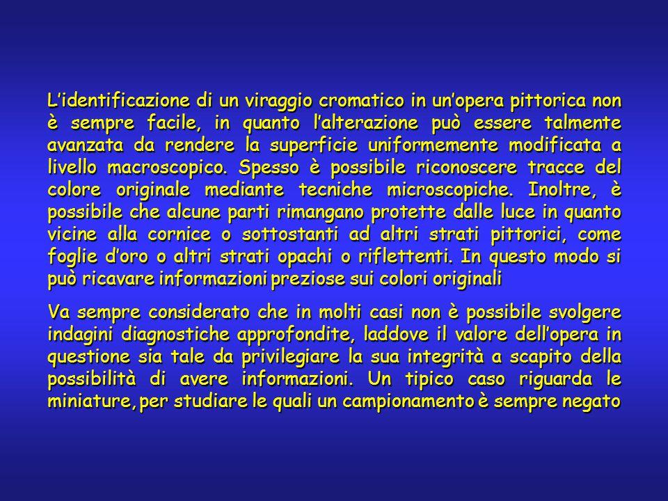 Degradazione di pigmenti inorganici L'alterazione cromatica indotta dalla luce non è attiva soltanto sulle lacche.