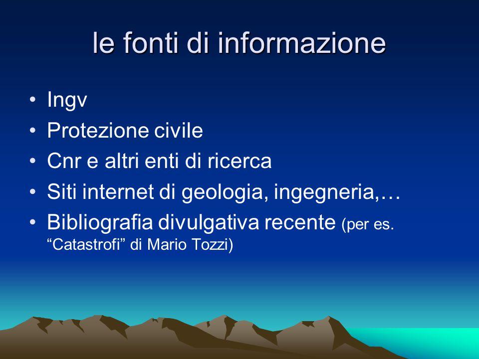 le fonti di informazione Ingv Protezione civile Cnr e altri enti di ricerca Siti internet di geologia, ingegneria,… Bibliografia divulgativa recente (per es.