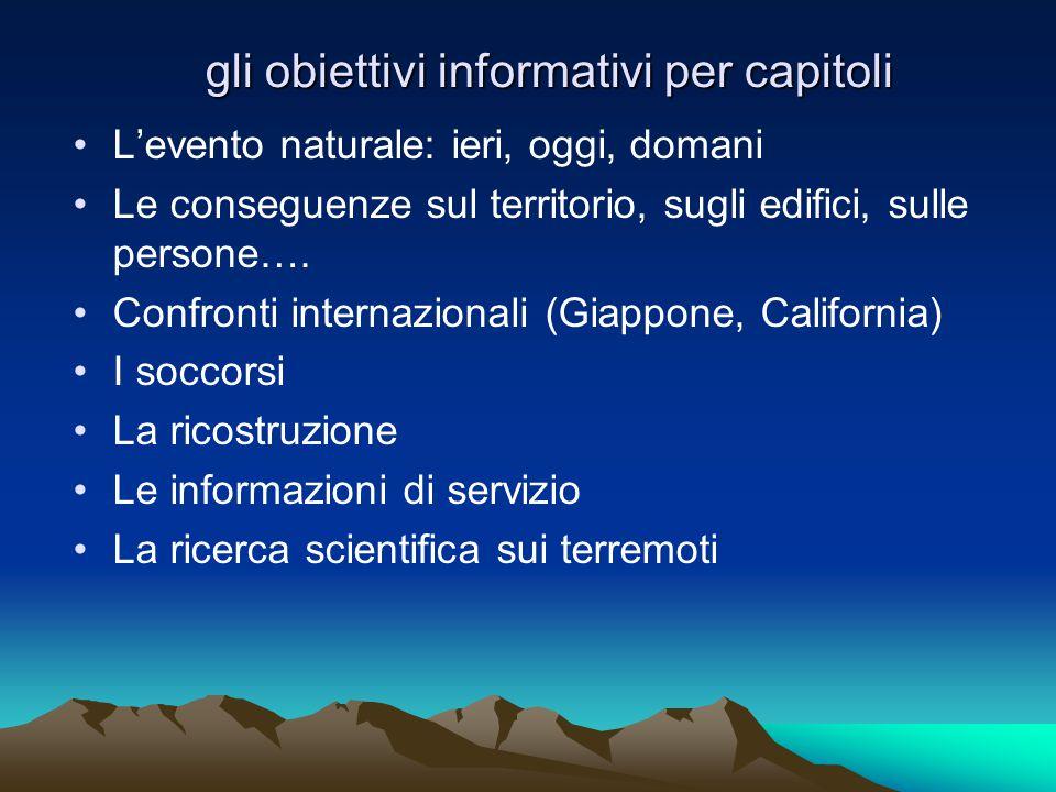gli obiettivi informativi per capitoli L'evento naturale: ieri, oggi, domani Le conseguenze sul territorio, sugli edifici, sulle persone….