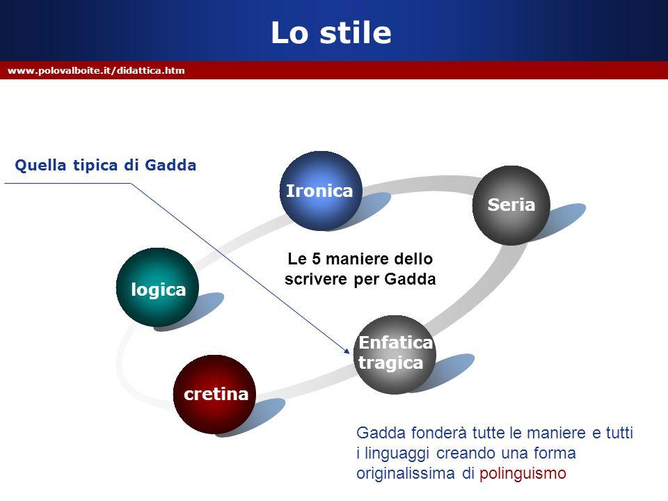 www.polovalboite.it/didattica.htm Lo stile logica Ironica Seria Enfatica tragica cretina Le 5 maniere dello scrivere per Gadda Quella tipica di Gadda
