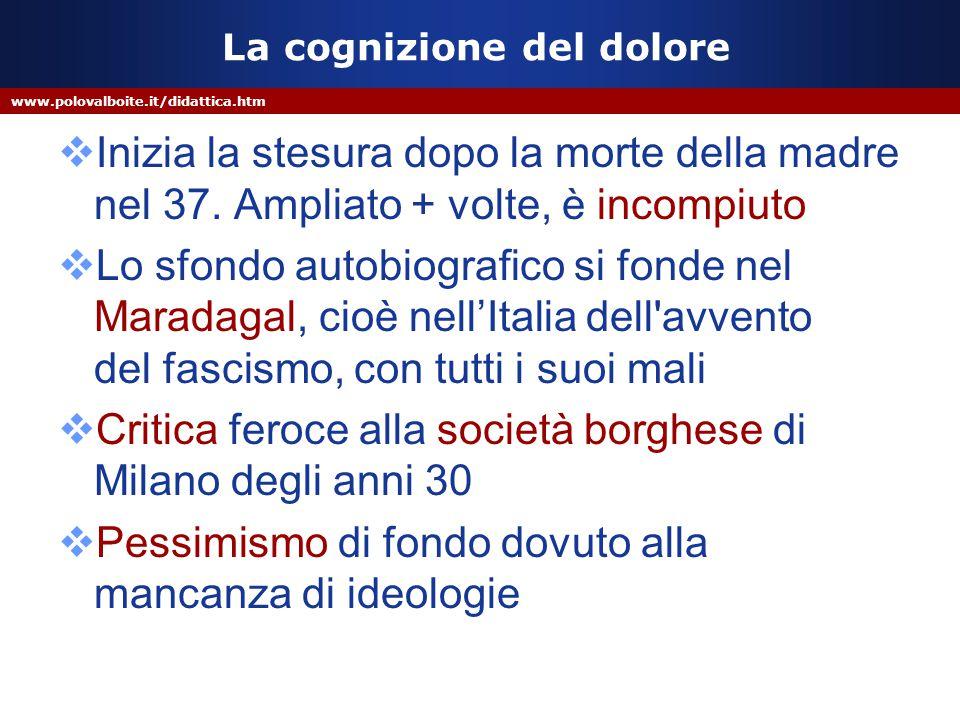 www.polovalboite.it/didattica.htm La cognizione del dolore  Inizia la stesura dopo la morte della madre nel 37.