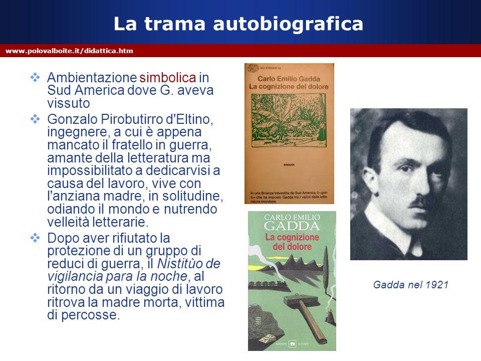 www.polovalboite.it/didattica.htm La trama autobiografica  Ambientazione simbolica in Sud America dove G. aveva vissuto  Gonzalo Pirobutirro d'Eltin