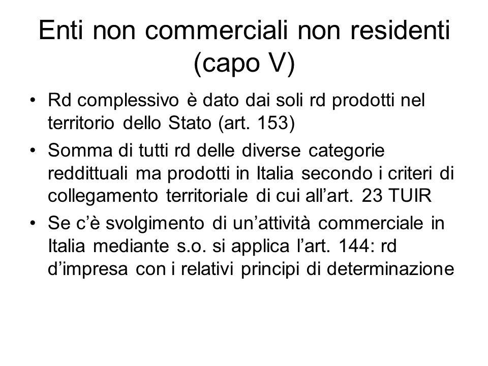 Enti non commerciali non residenti (capo V) Rd complessivo è dato dai soli rd prodotti nel territorio dello Stato (art.