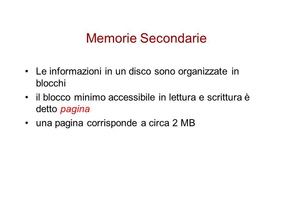 Accesso alla memoria secondaria Per trattare quantità estremamente grandi di dati si devono pertanto sviluppare algoritmi che lavorino con dati memorizzati in memoria secondaria si devono pertanto minimizzare gli accessi alla memoria oltre che garantire efficienza computazionale di CPU Le operazioni di accesso ai dati negli algoritmi vengono modificate in: x=puntatore a un dato Disk-Read(x) …operazioni di elaborazione di x Disk-Write(x) …operazioni che accedono a x in sola lettura