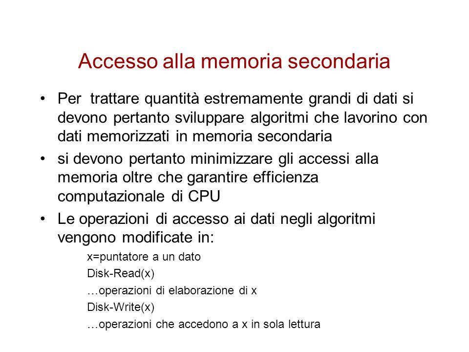 Accesso alla memoria secondaria Le operazioni di lettura su disco si intendono fatte nel caso in cui il dato puntato da x non sia già disponibile nella memoria primaria le operazioni di scrittura vengono invece eseguite solo se il dato puntato da x è stato in qualche modo modificato