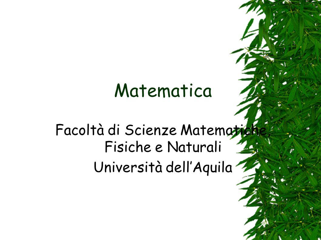 Matematica Facoltà di Scienze Matematiche, Fisiche e Naturali Università dell'Aquila