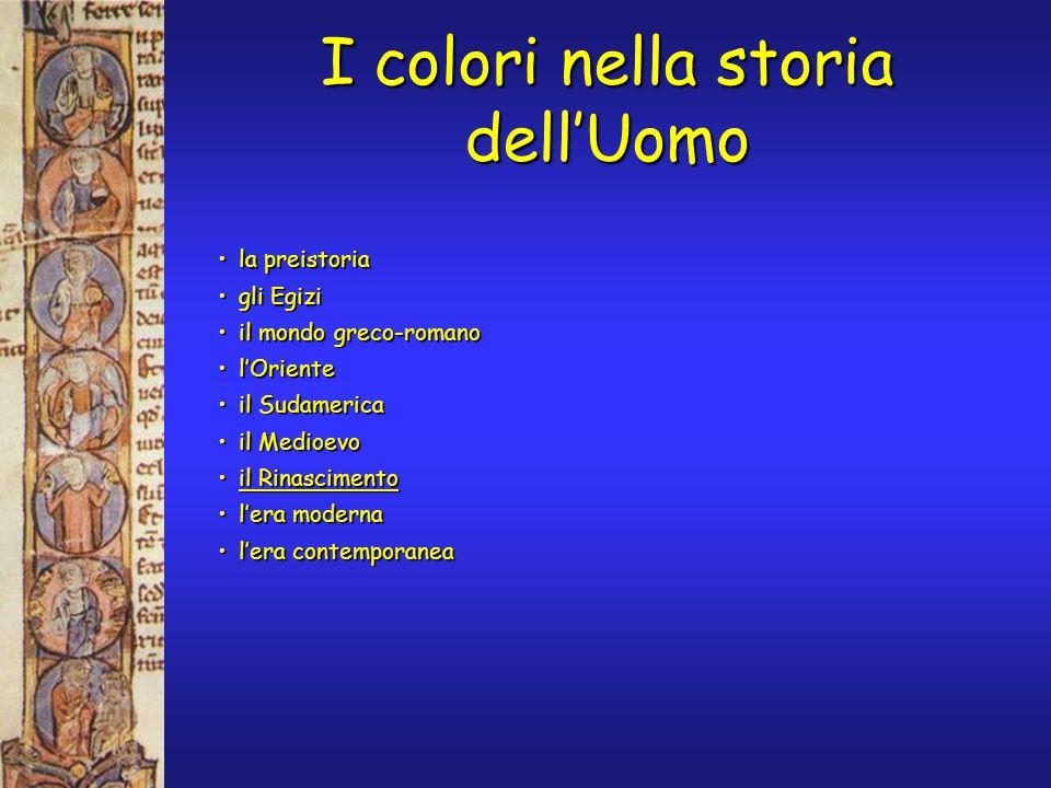 la preistoriala preistoria gli Egizigli Egizi il mondo greco-romanoil mondo greco-romano l'Orientel'Oriente il Sudamericail Sudamerica il Medioevoil Medioevo il Rinascimentoil Rinascimento l'era modernal'era moderna l'era contemporaneal'era contemporanea I colori nella storia dell'Uomo