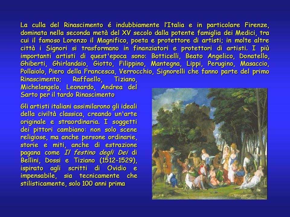 La culla del Rinascimento é indubbiamente l'Italia e in particolare Firenze, dominata nella seconda metà del XV secolo dalla potente famiglia dei Medici, tra cui il famoso Lorenzo il Magnifico, poeta e protettore di artisti; in molte altre città i Signori si trasformano in finanziatori e protettori di artisti.