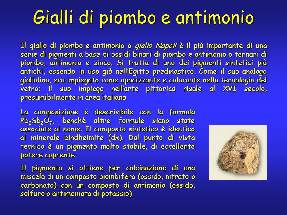Gialli di piombo e antimonio Il giallo di piombo e antimonio o giallo Napoli è il più importante di una serie di pigmenti a base di ossidi binari di piombo e antimonio o ternari di piombo, antimonio e zinco.