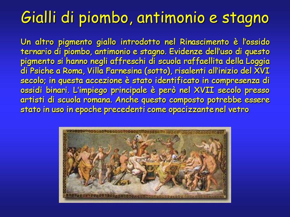 Gialli di piombo, antimonio e stagno Un altro pigmento giallo introdotto nel Rinascimento è l'ossido ternario di piombo, antimonio e stagno.