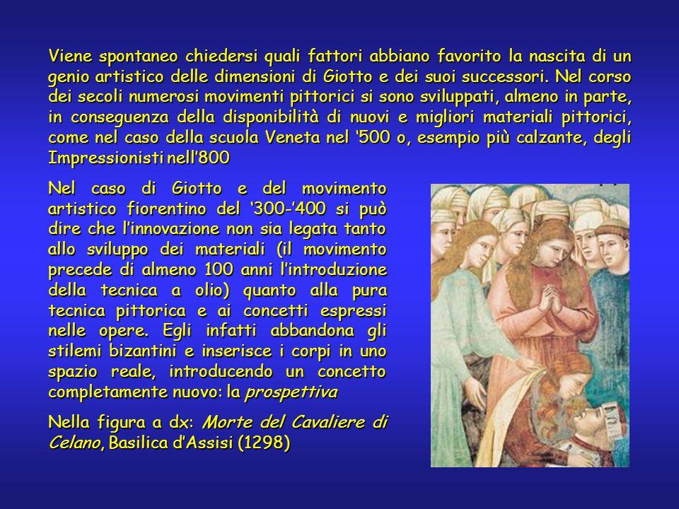 I colori di Giotto La tavolozza di Giotto non è molto diversa da quella in uso nei secoli precedenti: un pittore di epoca romana avrebbe potuto ottenere gli stessi risultati.