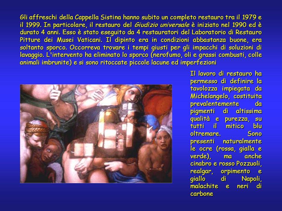 Gli affreschi della Cappella Sistina hanno subito un completo restauro tra il 1979 e il 1999.