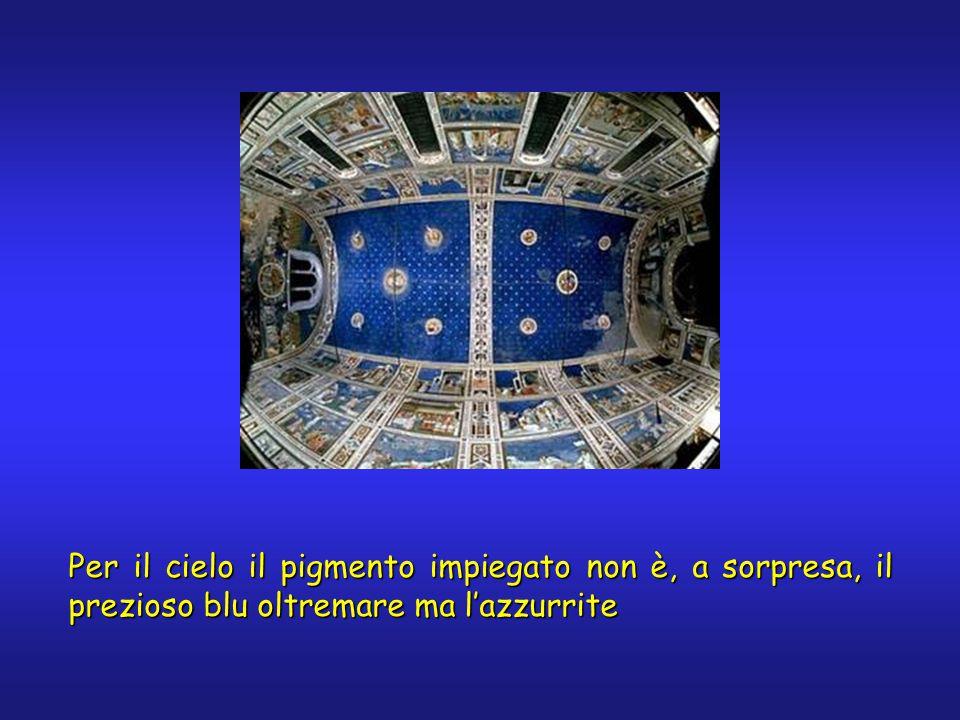 Per il cielo il pigmento impiegato non è, a sorpresa, il prezioso blu oltremare ma l'azzurrite
