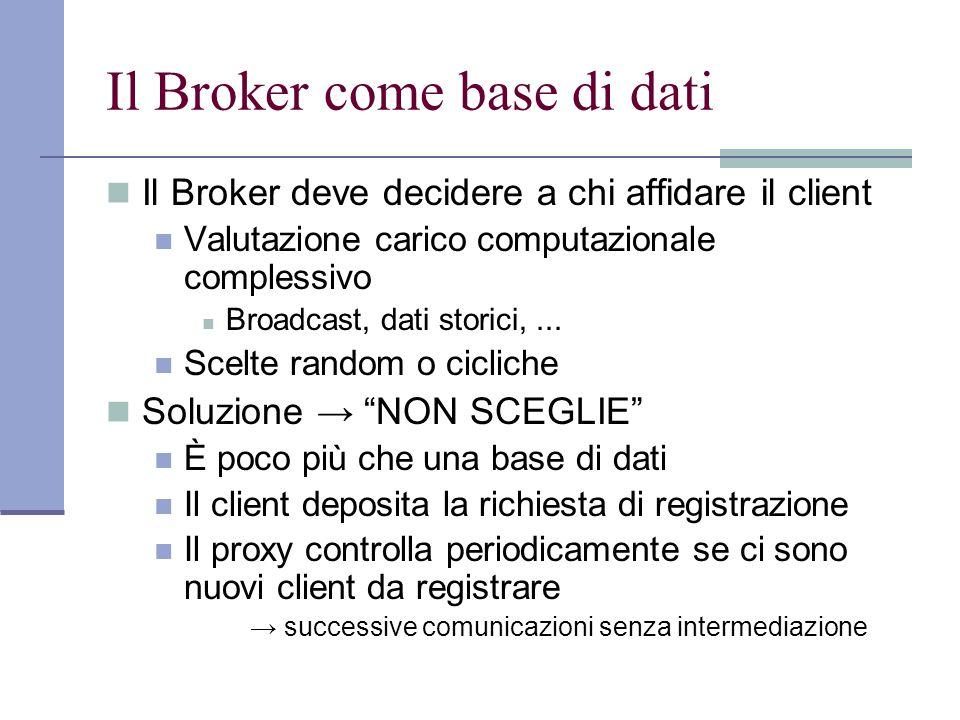 Il Broker come base di dati Il Broker deve decidere a chi affidare il client Valutazione carico computazionale complessivo Broadcast, dati storici,...
