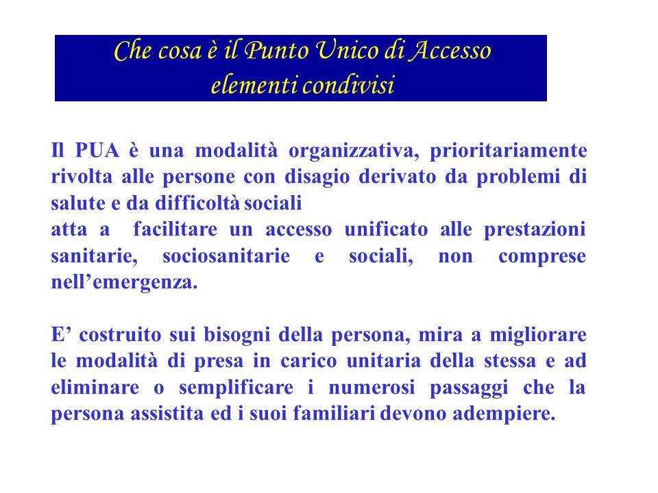 Il PUA è una modalità organizzativa, prioritariamente rivolta alle persone con disagio derivato da problemi di salute e da difficoltà sociali atta a f