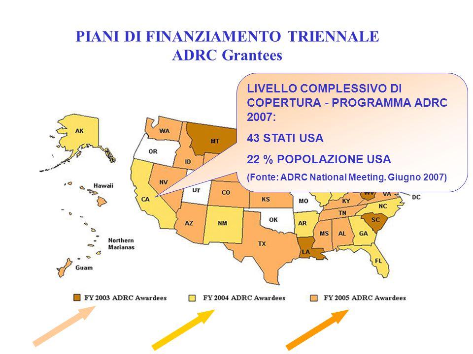 PIANI DI FINANZIAMENTO TRIENNALE ADRC Grantees MA LIVELLO COMPLESSIVO DI COPERTURA - PROGRAMMA ADRC 2007: 43 STATI USA 22 % POPOLAZIONE USA (Fonte: AD
